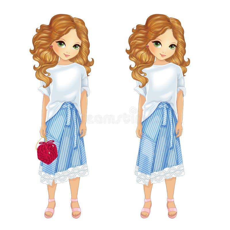 Menina na camisa e na saia das listras azuis ilustração do vetor
