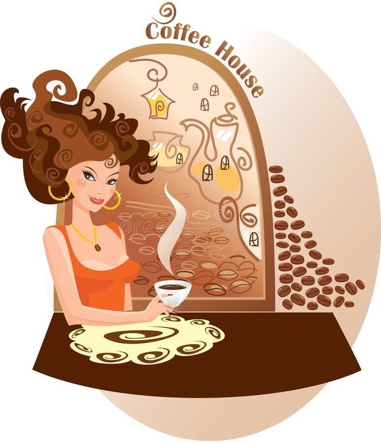 Menina na casa de café ilustração royalty free