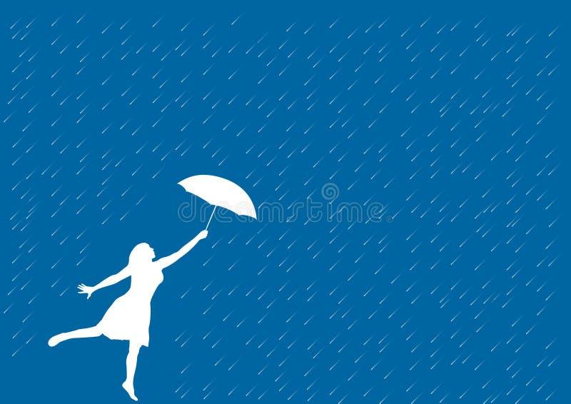 Menina na chuva ilustração royalty free