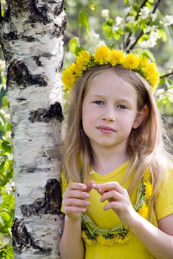 Menina na coroa do dente-de-leão imagens de stock