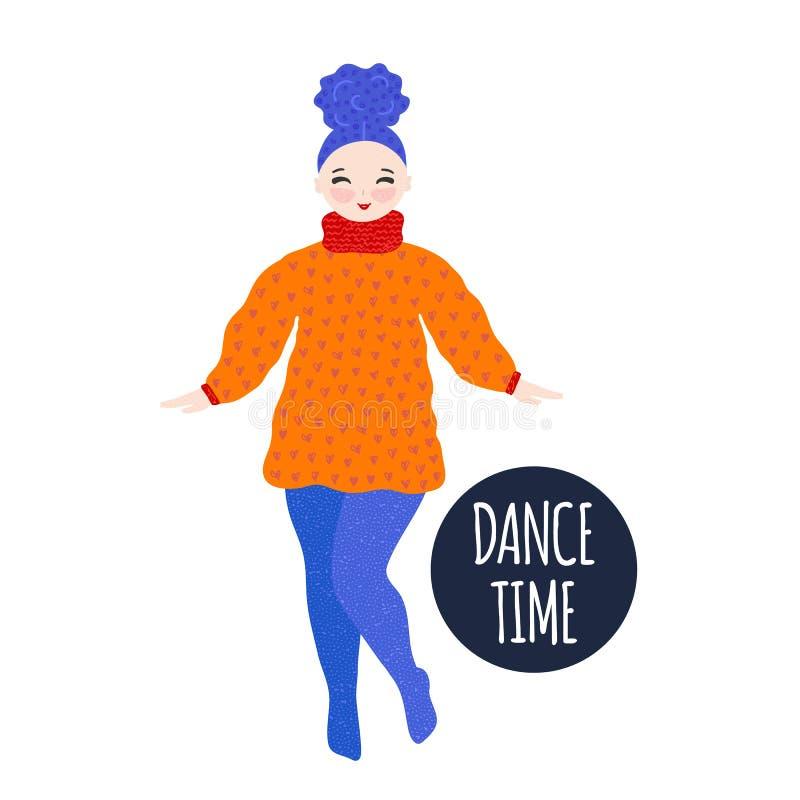 Menina na dança e no sorriso mornos do vestido pastime Personagem de banda desenhada bonito tirado mão Projeto original Estilo a  ilustração royalty free