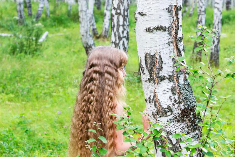 Menina na floresta fotos de stock