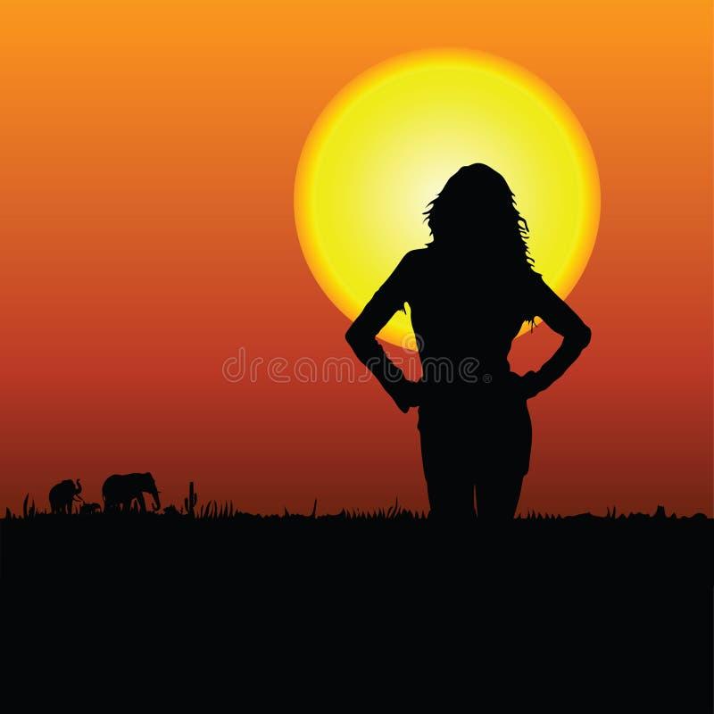 Menina na ilustração do vetor do safari ilustração royalty free