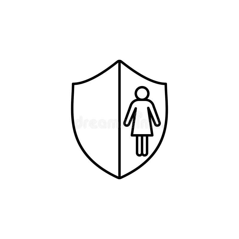 a menina na linha ícone do protetor Elemento do ícone principal da caça para apps móveis do conceito e da Web Linha fina a menina ilustração stock