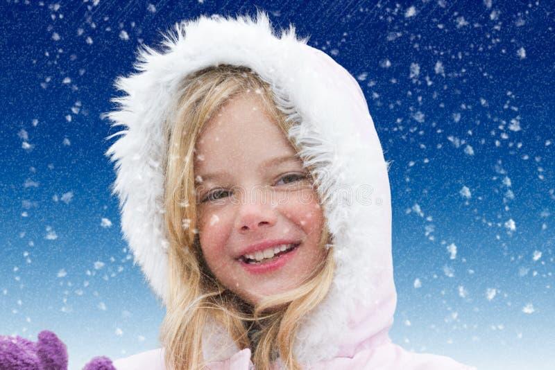 Menina na neve imagem de stock royalty free