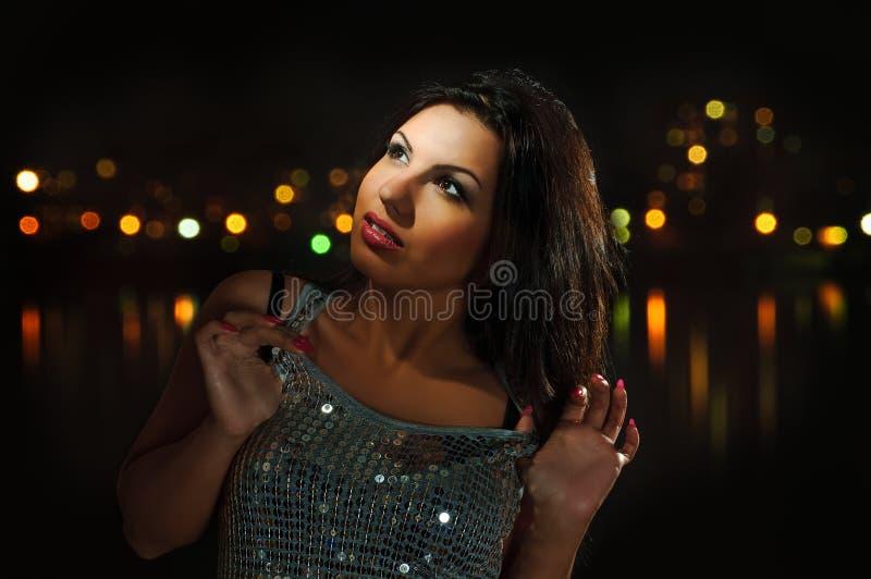 Menina na noite fotografia de stock