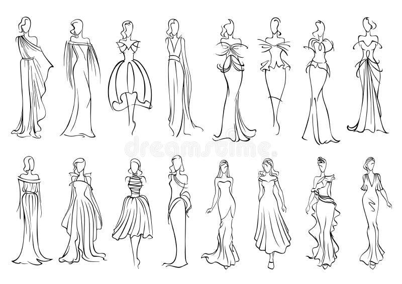 Menina na noite e no ícone elegantes dos vestidos de cocktail ilustração royalty free
