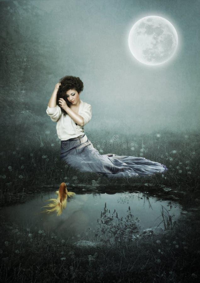 Menina na noite enluarada ilustração royalty free