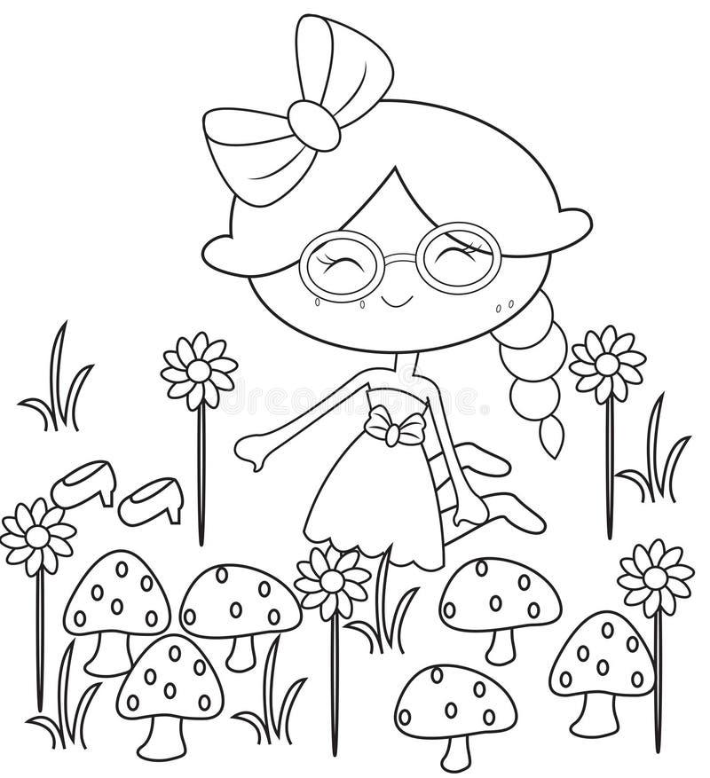 Menina na página da coloração do jardim ilustração stock