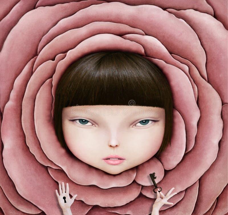 Menina na pétala cor-de-rosa ilustração do vetor
