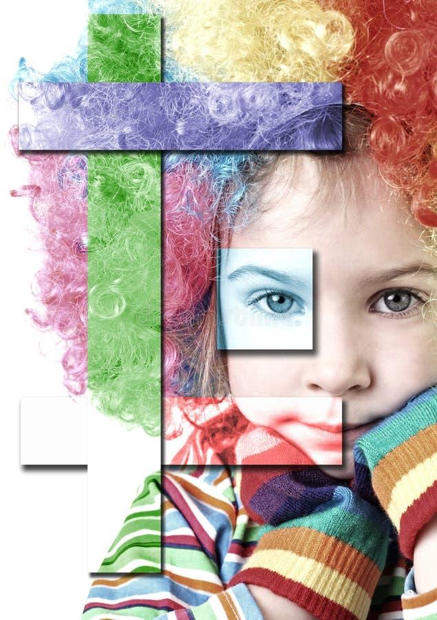 Menina na peruca do palhaço e em luvas coloridos foto de stock