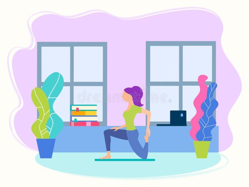 Menina na posição da ioga em casa entre o estudo e o conceito da aptidão da ioga do trabalho ilustração stock