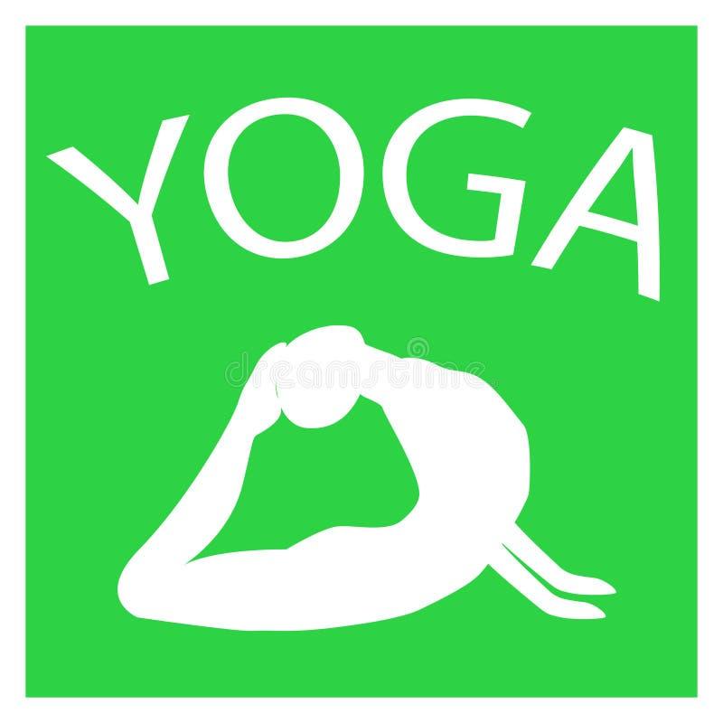 Menina na posição da ioga Silhueta fêmea branca no fundo verde ilustração stock