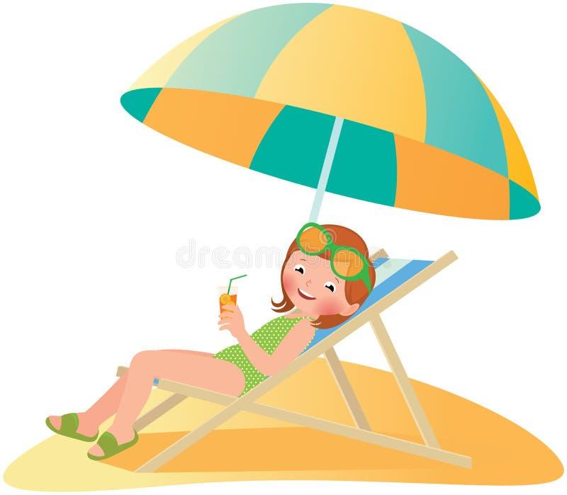Menina na praia em um deckchair ilustração stock