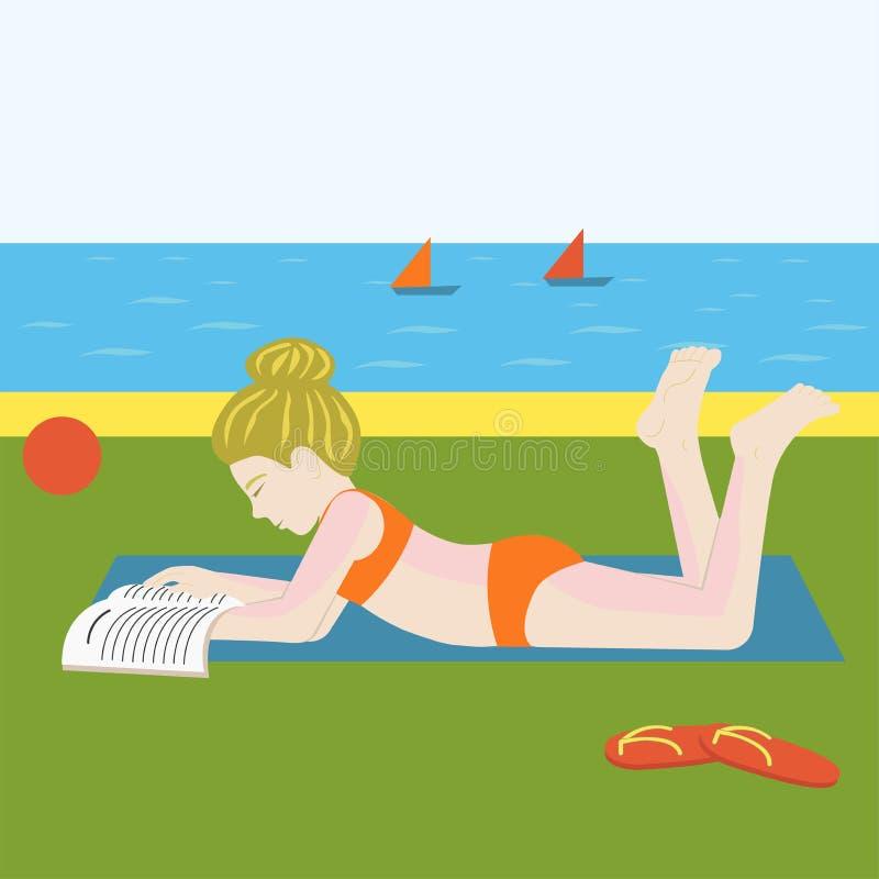 Menina na praia ilustração do vetor