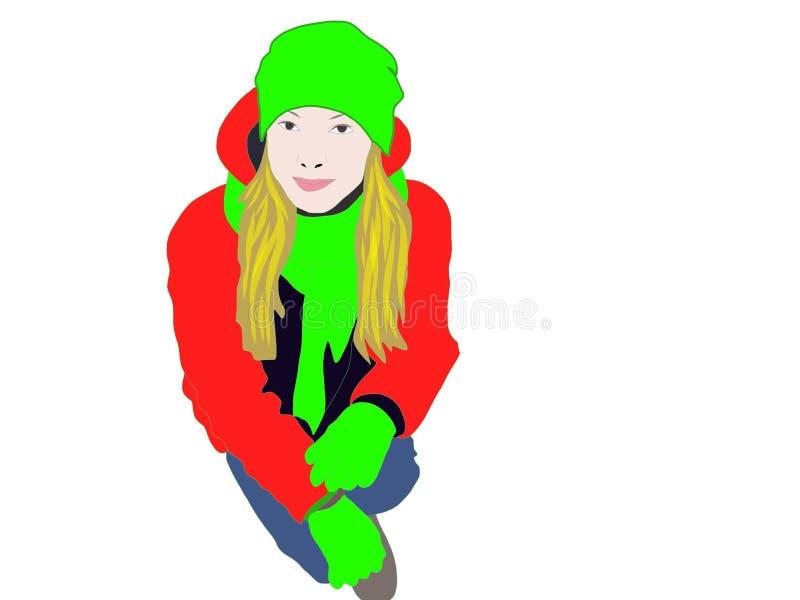 A menina na roupa brilhante ilustração stock