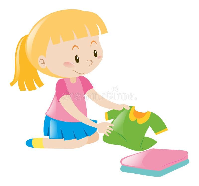Menina na roupa de dobramento cor-de-rosa ilustração stock