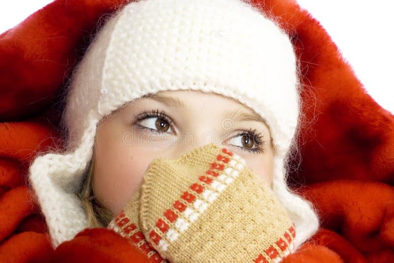 Menina na roupa do inverno fotos de stock