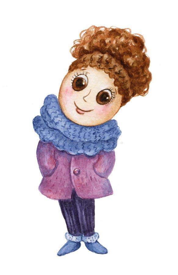 Menina na roupa do inverno ilustração do vetor