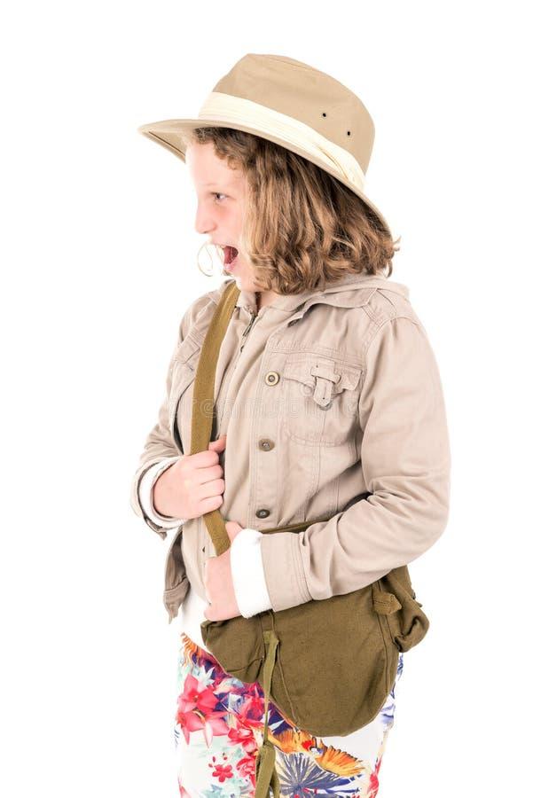 Menina na roupa do safari imagem de stock
