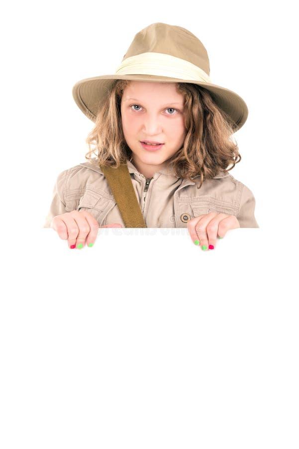 Menina na roupa do safari fotografia de stock