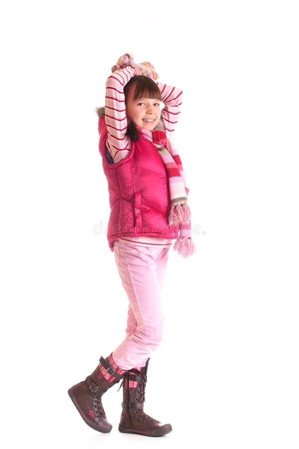 Menina na roupa invernal foto de stock