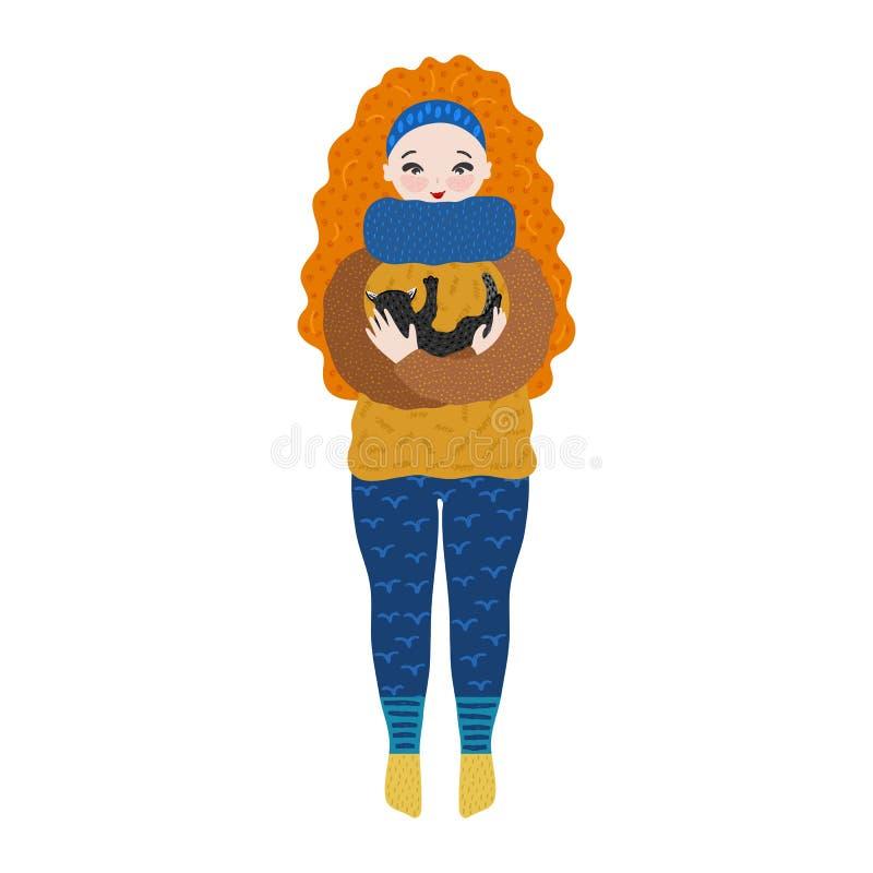 Menina na roupa morna que guarda o gato em seus braços pastime Personagem de banda desenhada bonito tirado mão que abraça o gatin ilustração do vetor
