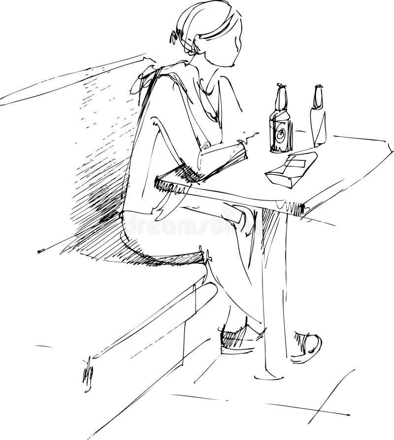 menina na tabela e no frasco da cerveja ilustração stock