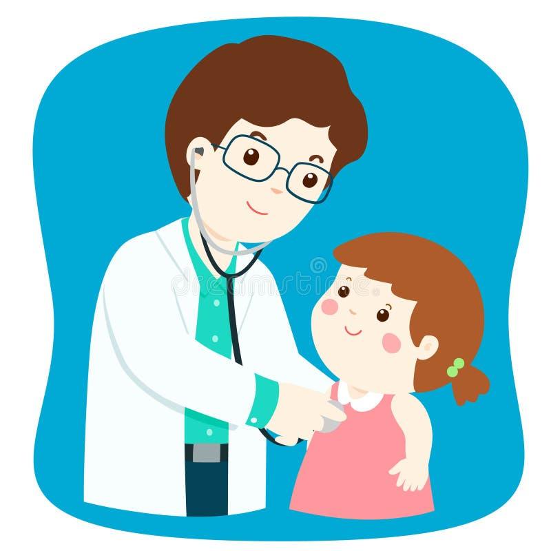 Menina na verificação médica acima com o doutor masculino do pediatra ilustração stock