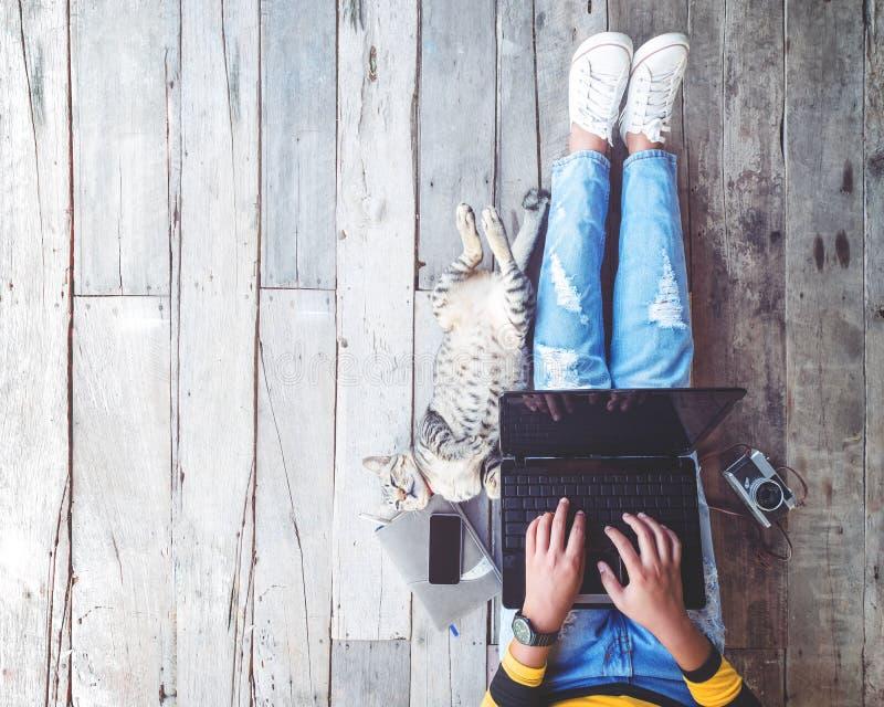 Menina nas calças de brim que trabalham no laptop ajudado por seu gato no assoalho de madeira imagem de stock