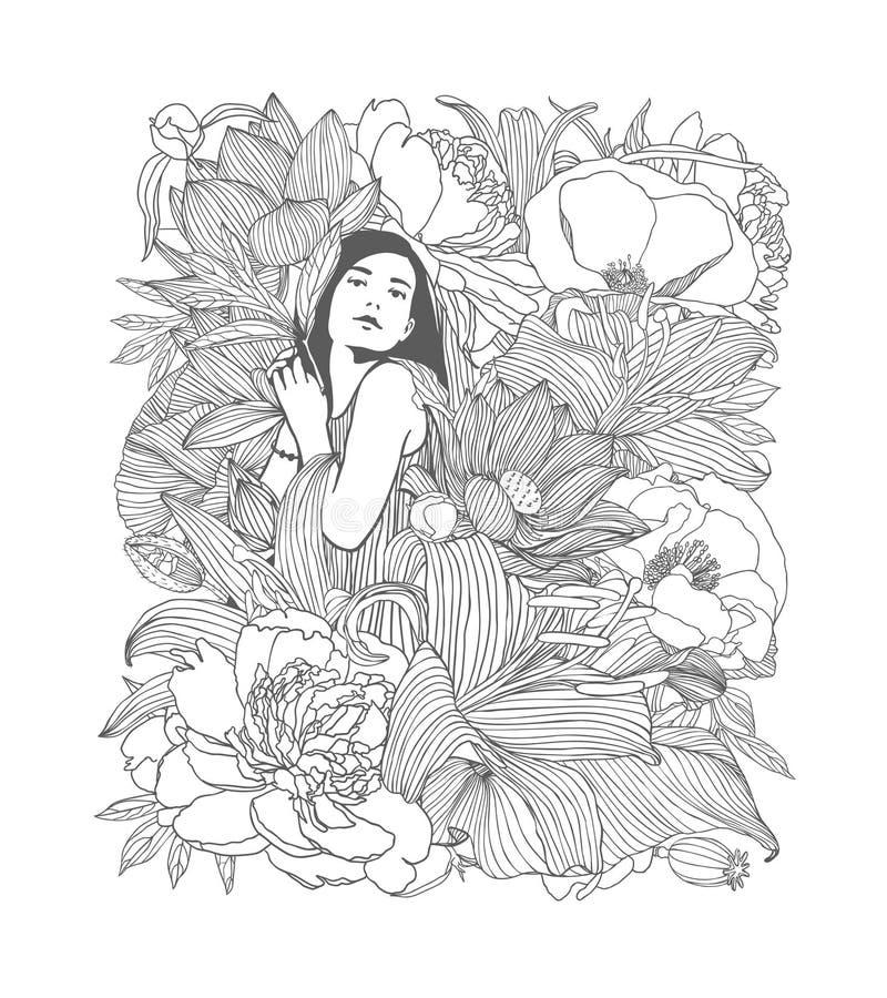 Menina nas flores Ilustração linear ilustração do vetor
