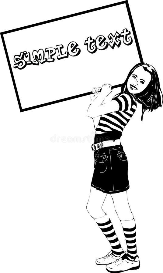 A menina nas ovas mantem o frame anunciar ilustração do vetor