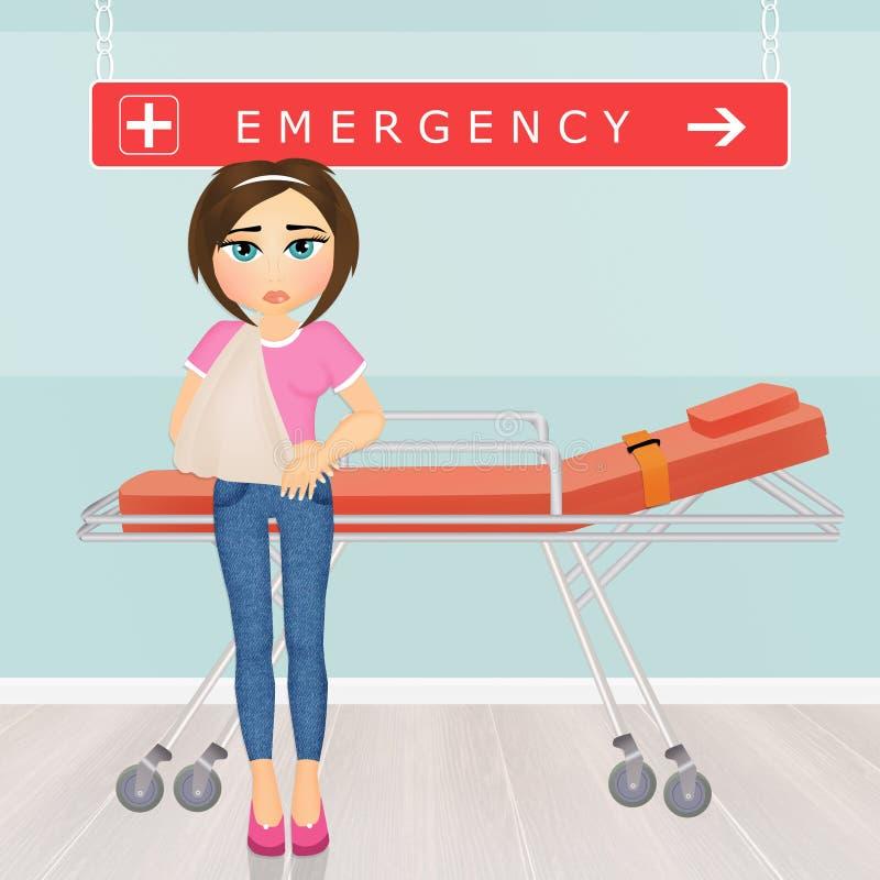 Menina nas urgências ilustração stock