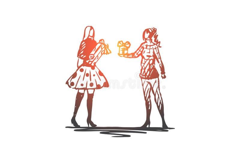 Menina, Natal, presente, inverno, conceito feliz Vetor isolado tirado mão ilustração stock