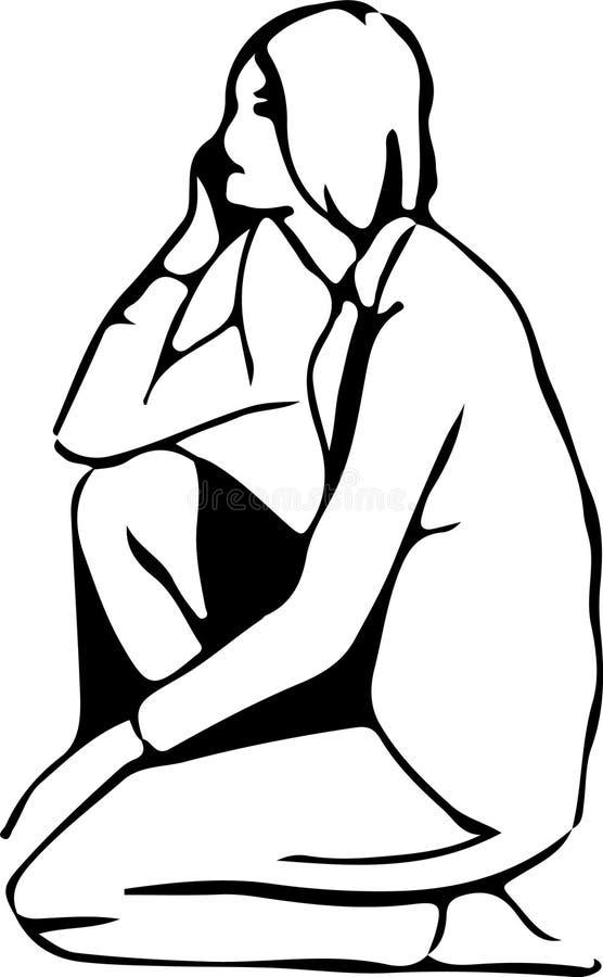 Menina no amor pensativo e que senta-se em seu regaço tirado no lápis ilustração royalty free