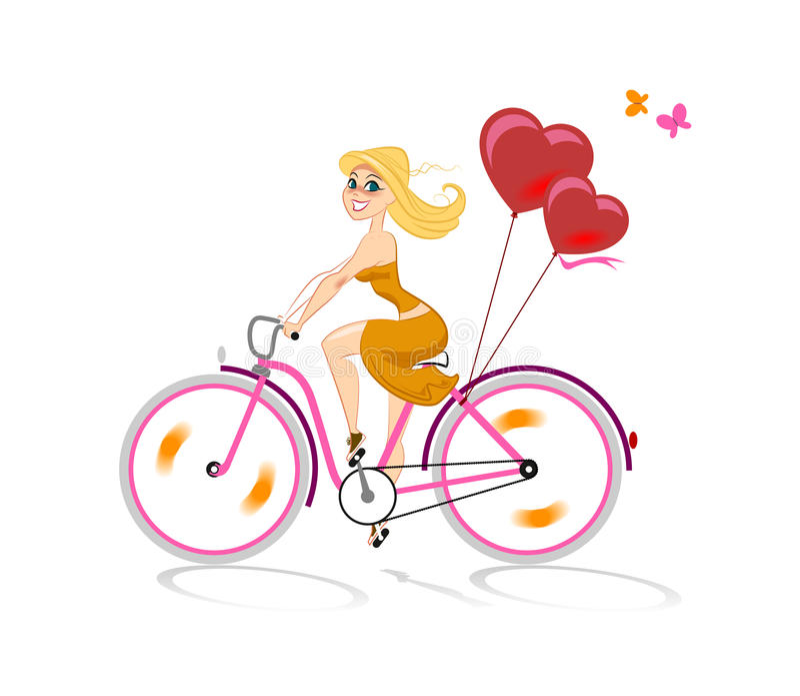 A menina no amor vai pela bicicleta ilustração do vetor