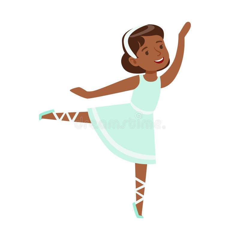 Menina no bailado azul da dança do vestido na classe de dança clássica, dançarino profissional futuro da bailarina ilustração stock