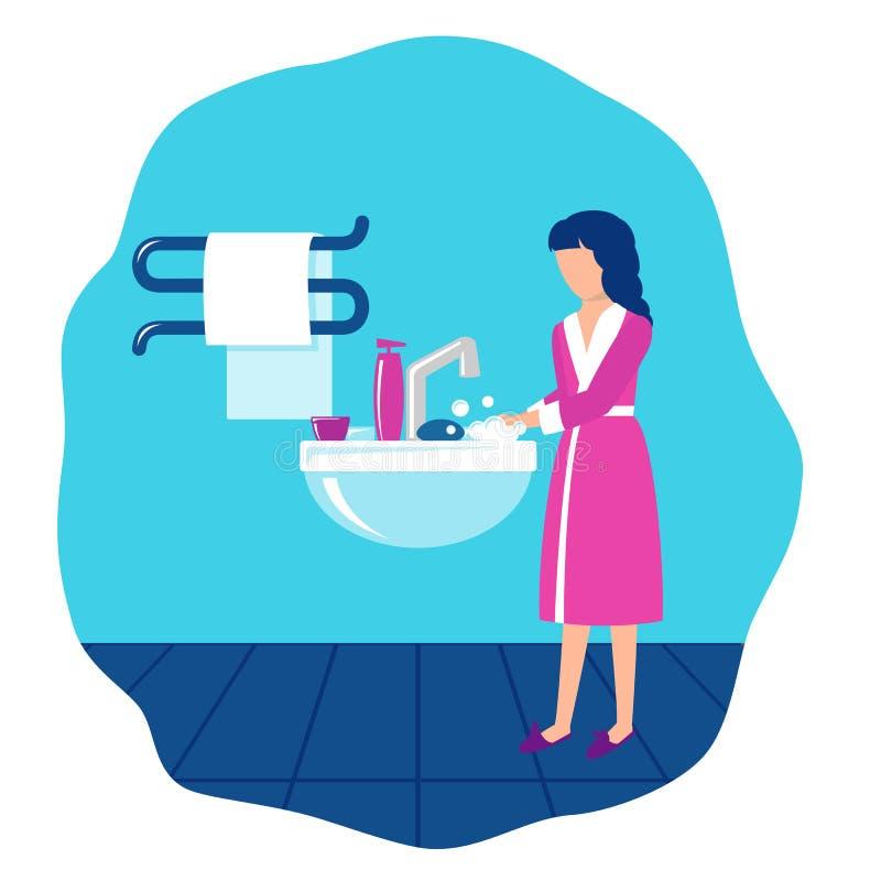 A menina no banheiro em um dissipador lava as mãos com sabão ilustração royalty free