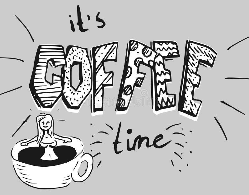 Menina no banho do café - uma xícara de café fotos de stock