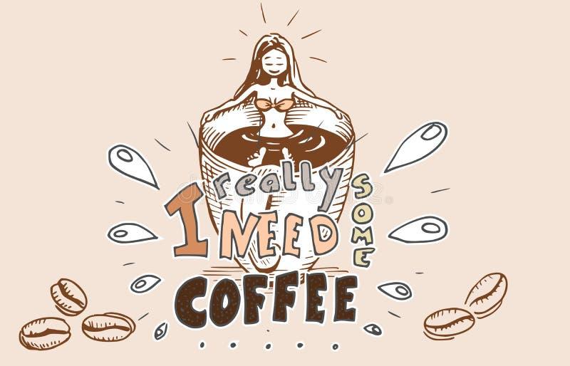 Menina no banho do café - uma xícara de café imagem de stock royalty free