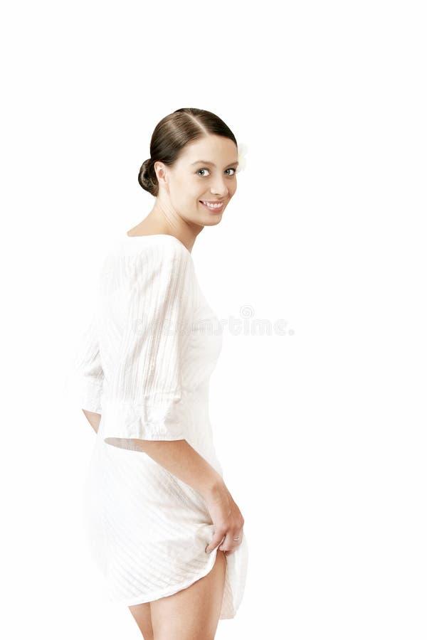Menina no branco foto de stock
