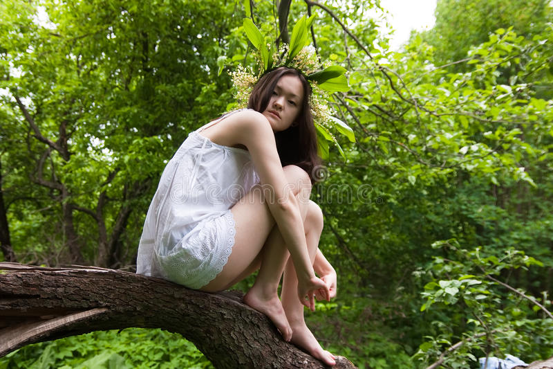 Menina no branco sobre a floresta fotografia de stock