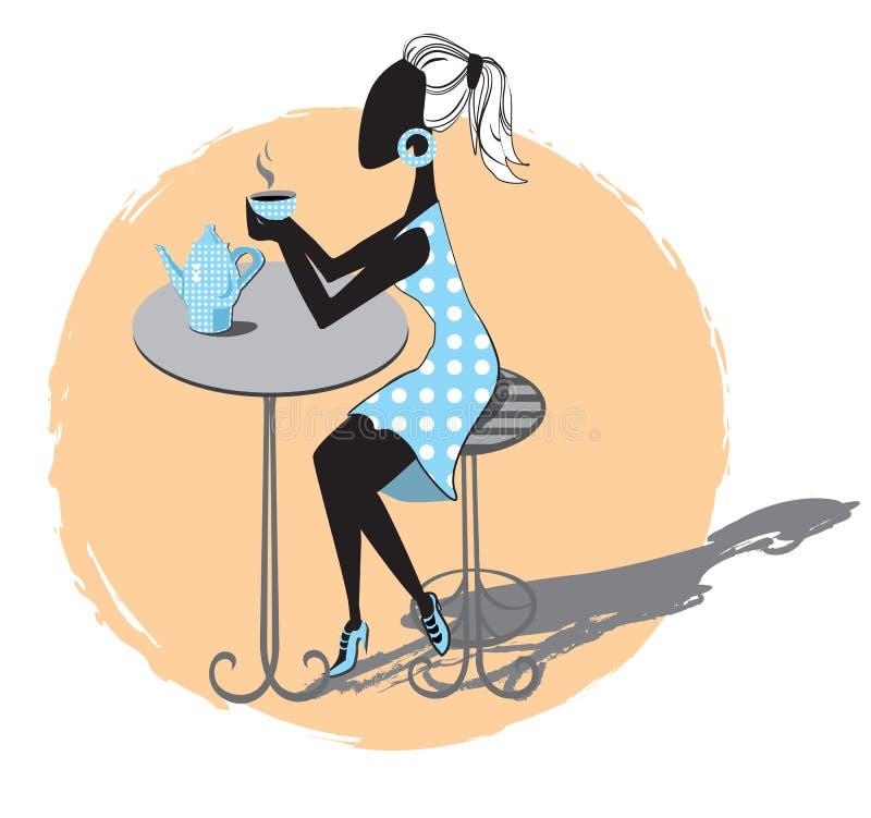 Menina no café ilustração do vetor