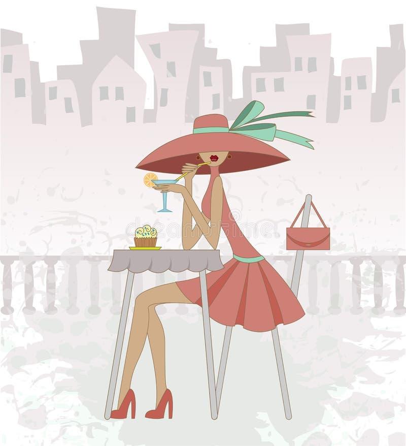 Menina no café ilustração royalty free
