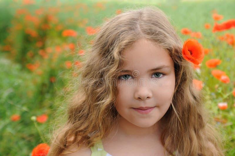 Menina no campo da papoila fotos de stock royalty free