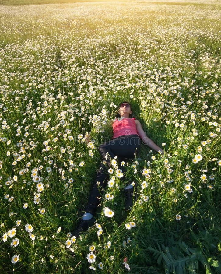 Menina no campo de flor da mola da roda de margarida imagem de stock