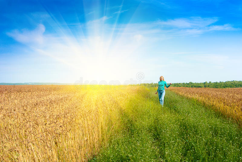 Menina no campo de trigo fotografia de stock