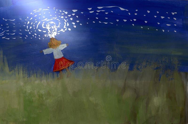 Menina no campo em um feixe de luz foto de stock
