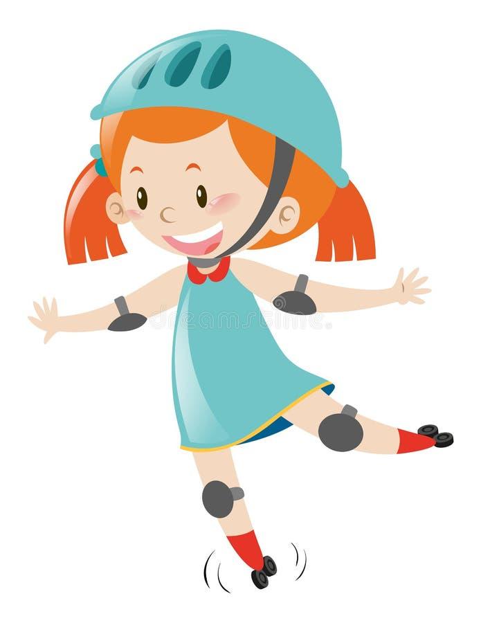 Menina no capacete vestindo azul ao patinar ilustração do vetor