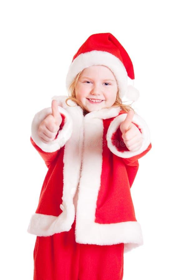 menina no chapéu de Papai Noel foto de stock royalty free